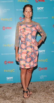 Edie Falco paired her embellished sandals with a pretty printed dress.