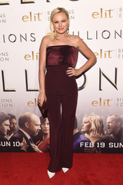Malin Akerman kept it simple yet sophisticated in a strapless burgundy jumpsuit by Galvan at the premiere of 'Billions' season 2.