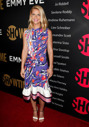 Claire Danes teamed her dress with black-and-white ankle-strap sandals by Francesco Russo.