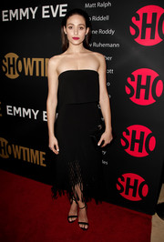 Emmy Rossum looked modern and chic in a Dion Lee strapless LBD with a fringed hem at the Showtime Emmy eve party.