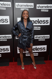 Shanola Hampton looked cool in a shiny navy wrap dress at the celebration of the 100th episode of 'Shameless.'