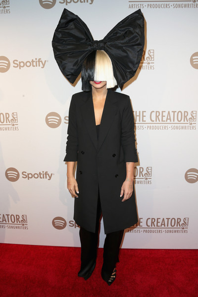 Sia Wool Coat [clothing,red carpet,carpet,ear,suit,fashion,flooring,footwear,dress,outerwear,spotify,arrivals,sia,cicada,los angeles,california,creators party,the creators party]