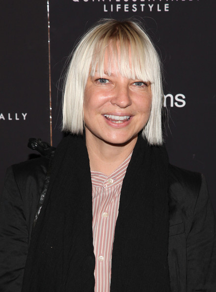 Sia Short Cut With Bangs [liberal arts,hair,face,hairstyle,blond,chin,forehead,bangs,layered hair,long hair,smile,sia,new york,sunshine landmark,screening,new york screening]