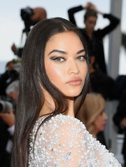 Shanina Shaik sported a sleek straight hairstyle at the 2019 Cannes Film Festival screening of 'Sibyl.'