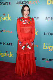 Zoe Kazan was all about old-school glamour in an embroidered red ruffle gown by Vivetta at the New York premiere of 'The Big Sick.'