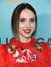 Zoe Kazan sported a loose, center-parted braid at the New York premiere of 'The Big Sick.'