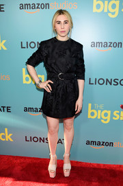 Zosia Mamet showed some leg in a belted brocade LBD by Miu Miu at the New York premiere of 'The Big Sick.'
