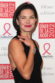 Delphine Chaneac accessorized her look with an ornate cuff bracelet at the Sidaction Gala Dinner.