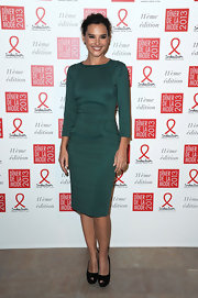Virginie Ledoyen looked polished in this tailored emerald cocktail dress at the Sidaction Gala Dinner.