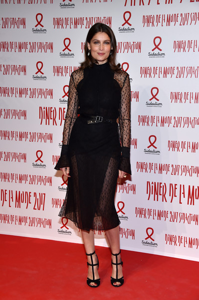 Laetitia Casta was sexy and sophisticated in a partially sheer LBD at the 2017 Sidaction Gala.