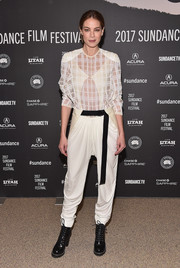 Michelle Monaghan teamed her top with white harem pants, also by Louis Vuitton.