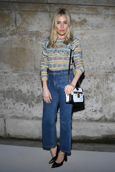 Sienna Miller Leather Shoulder Bag [denim,jeans,blue,clothing,fashion model,fashion,shoulder,girl,textile,outerwear,sienna miller,front row,part,paris,france,louis vuitton,paris fashion week womenswear fall]