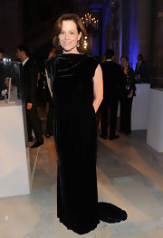 Sigourney Weaver wore this velvet gown to the Nomad's Way Charity Gala.