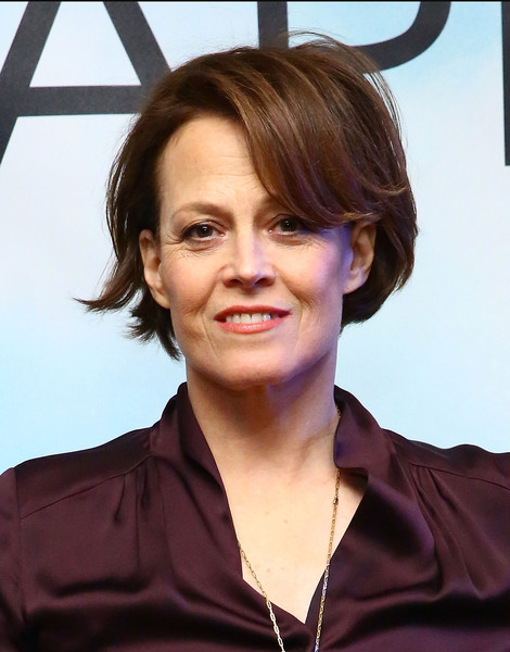 Sigourney Weaver Bob [chappie photocall,hair,hairstyle,chin,forehead,smile,brown hair,layered hair,makeover,bob cut,long hair,sigourney weaver,chappie,crosby street hotel,new york city,cast photo call]