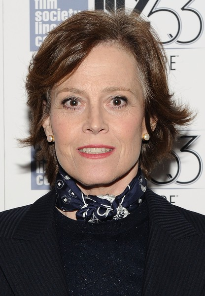 Sigourney Weaver Layered Razor Cut [hair,face,hairstyle,eyebrow,lip,chin,brown hair,neck,choker,long hair,ingrid bergman in her own words,sigourney weaver,walter reade theatre,new york city,the film society of lincoln center,new york film festival,premiere]