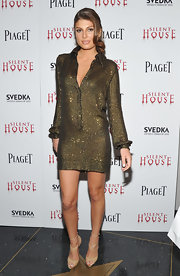 Angela Martini wore this dazzling shirt dress to the 'Silent House' premiere in NYC.