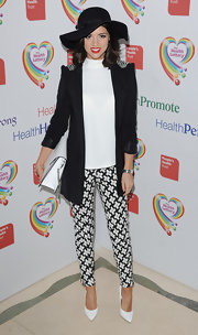 Lucy Mecklineburgh's black blazer with peak shoulders gave her a sleek and edgy look at the Health Lottery event.
