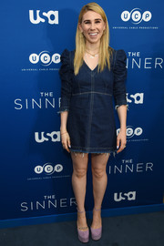 Zosia Mamet was a cutie in a denim mini dress with ruched sleeves at the premiere of 'The Sinner.'