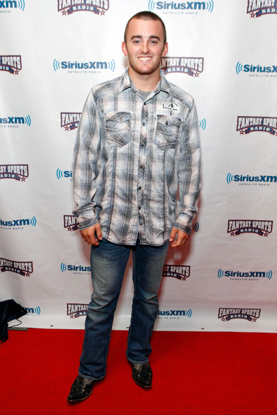 Austin Dillon looked casual but still put together as he chose a patterned button-down at the Celebrity Fantasy Football draft.