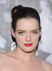 Roxane Mesquida loves bright lips and this shade of cherry red had a pearlescent pop of pink.