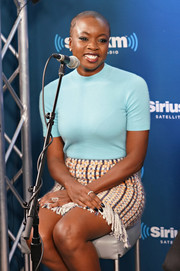 Danai Gurira opted for a simple and casual pastel-blue knit top when she visited SiriusXM's 'Town Hall.'