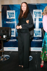 Laura Haddock went menswear-chic in a long-sleeve black jumpsuit for her visit to SiriusXM's 'Town Hall.'