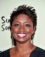 Montego Glover attended the premiere of 'Six by Sondheim' wearing her hair in a messy-chic style.