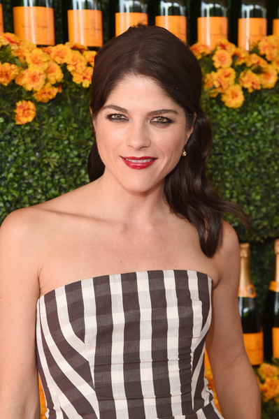 Selma Blair sported a wavy half-up style at the Veuve Clicquot Polo Classic.