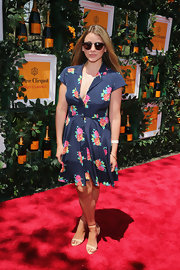 Lo Bosworth rocked a navy floral shirt dress at the Sixth Annural Veuve Clicquot Polo Classic.