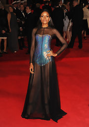 Naomie Harris' sexy platform sandals peeked through her sheer black dress for a full-on fierce look.
