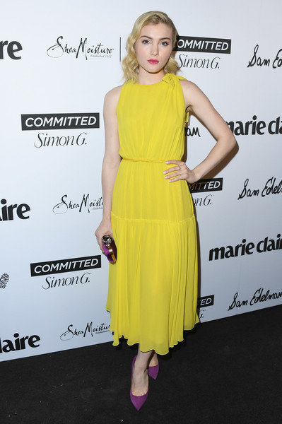 Skyler Samuels Pumps [marie claires 5th annual fresh faces,skyler samuels,poppy,dress,clothing,shoulder,yellow,cocktail dress,footwear,joint,fashion,premiere,fashion model,california,los angeles,arrivals]