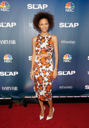Thandie Newton looked trendy and vibrant at the premiere of 'The Slap' in a Suno floral frock with a midriff cutout.