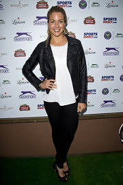 Gemma Atkinson looked rocker chic in this black moto jacket.