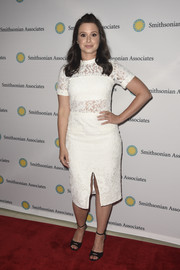 Katie Lowes chose a pair of black ankle-strap peep-toes by Via Spiga to complete her look.