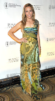 Sheryl was an abstract beauty at the Cancer Center's Spring ball in a printed chiffon evening gown.