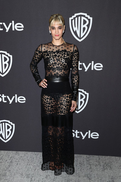 Sofia Boutella Sheer Dress [clothing,dress,carpet,red carpet,fashion,shoulder,fashion model,premiere,flooring,joint,sofia boutella,beverly hills,california,the beverly hilton hotel,instyle,golden globes,warner bros.,arrivals,party]
