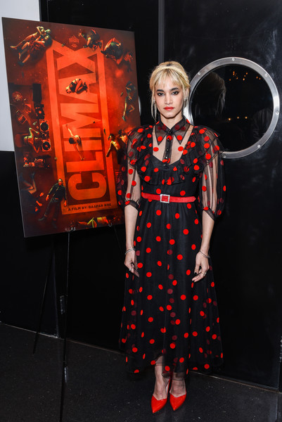 Sofia Boutella Pumps [clothing,orange,red,pattern,polka dot,design,fashion design,los angeles special screening of a24,climax,california,hollywood,neuehouse los angeles,sofia boutella]