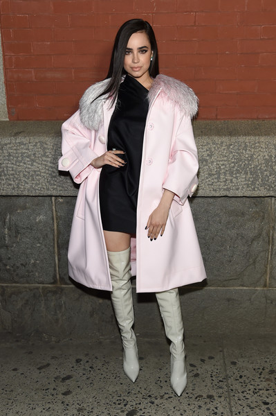 Sofia Carson Over the Knee Boots [marc jacobs,arrivals,sofia carson,clothing,white,coat,outerwear,pink,snapshot,fashion,street fashion,footwear,fur,marc jacobs fall 2018 show,new york city,park avenue armory]