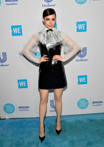 Sofia Carson Leather Dress [clothing,red carpet,carpet,dress,fashion,cocktail dress,leg,electric blue,flooring,fashion accessory,young people changing the world,sofia carson,california,inglewood,the forum,we day]