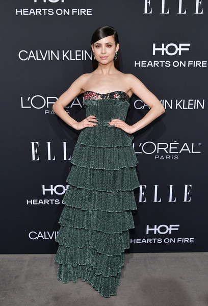 Sofia Carson Strapless Dress [elle,hearts on fire,loreal paris,red carpet,fashion model,dress,flooring,gown,beauty,cocktail dress,fashion,shoulder,catwalk,model,los angeles,beverly hills,california,25th annual women in hollywood celebration,calvin klein,sofia carson]
