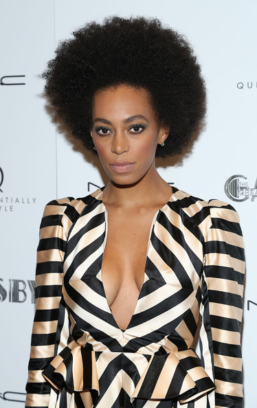 Solange Knowles Afro [hair,hairstyle,afro,fashion model,beauty,black hair,fashion,jheri curl,photography,lace wig,pre-met ball special screening of ``the great gatsby,new york city,moma,arrivals,solange knowles]