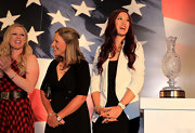 Michelle Wie was simply chic in a white blazer layered over an LBD at the Solheim Cup previews.