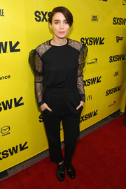 Rooney Mara was casual-chic in a black lace-sleeve top by Saint Laurent at the SXSW premiere of 'Song to Song.'