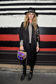 Alexia Niedzielski completed her edgy look with a pair of quilted black ankle boots.