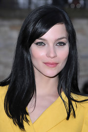 Leigh Lezark attended the Sonia Rykiel fall 2012 fashion show wearing her hair long and straight with side-swept bangs.