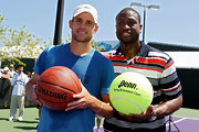 Dwyane Wade wore a striped polo shirt while playing 'Horse' with Andy Roddick.