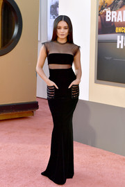 Vanessa Hudgens looked sultry in a figure-hugging black sheer-panel gown by Armani at the LA premiere of 'Once Upon a Time in Hollywood.'