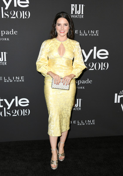 Sophia Bush Beaded Clutch [clothing,yellow,fashion model,fashion,hairstyle,dress,shoulder,premiere,footwear,joint,arrivals,sophia bush,instyle awards,fifth annual instyle awards,the getty center,los angeles,california]