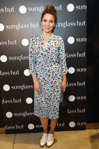 Sophia Bush Shirtdress [clothing,pattern,hairstyle,dress,fashion,premiere,design,footwear,fashion design,sophia bush,new york city,sunglass hut times square,sunglass hut,made for summer event,event]