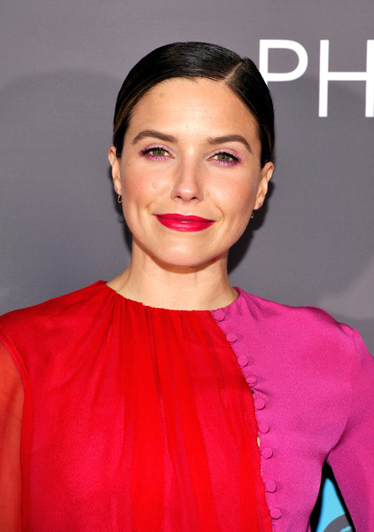 Sophia Bush Chignon [ark opens at annenberg space for photography,photo,hair,face,lip,hairstyle,eyebrow,skin,beauty,chin,forehead,pink,sophia bush,annenberg space for photography,california,century city,national geographic]
